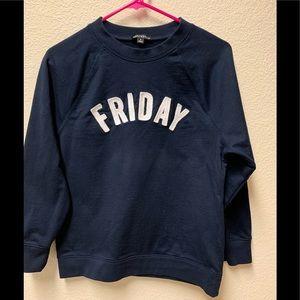 "J Crew Mercantile Navy ""Friday"" Sweatshirt, Small"